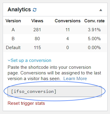 Built-in analytics conversion shortcode