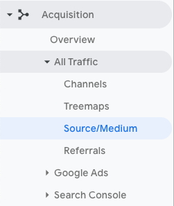 A screenshot of Google Analytics menu - acquisation report