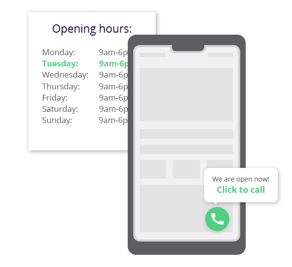 Show a click to call button during your businesses operating hours